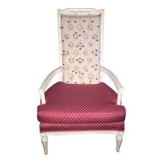 """Pretty in Pink"" Tufted Antique Chair"