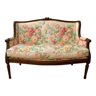 Louis XVI European Walnut Settee in Vintage Chintz For Sale