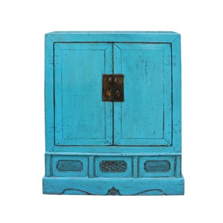 Chinese Distressed Rustic Turquoise Aqua Blue Foyer Console Table Cabinet For Sale