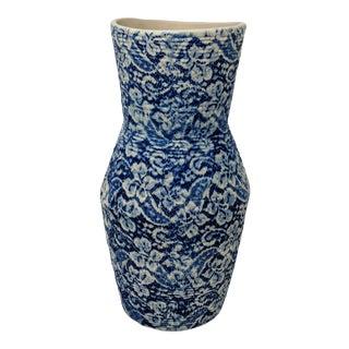 "Cream and Navy Handmade Ceramic Vase - 10.5"" For Sale"