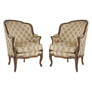 Late 19th Century Louis XV Bergere Chairs - a Pair
