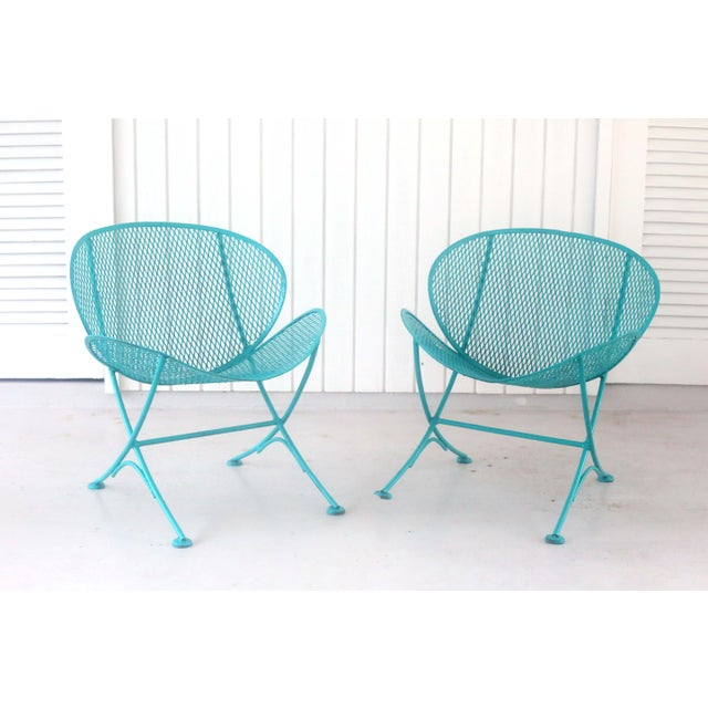 Mid-Century Modern 1960s Salterini Turquoise Clam Chairs - a Pair For Sale - Image 3 of 13