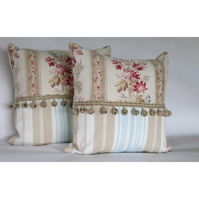 This charming pair features: A lovely motif of meadow wild flowers on medium weight cotton dating from 1880. The...