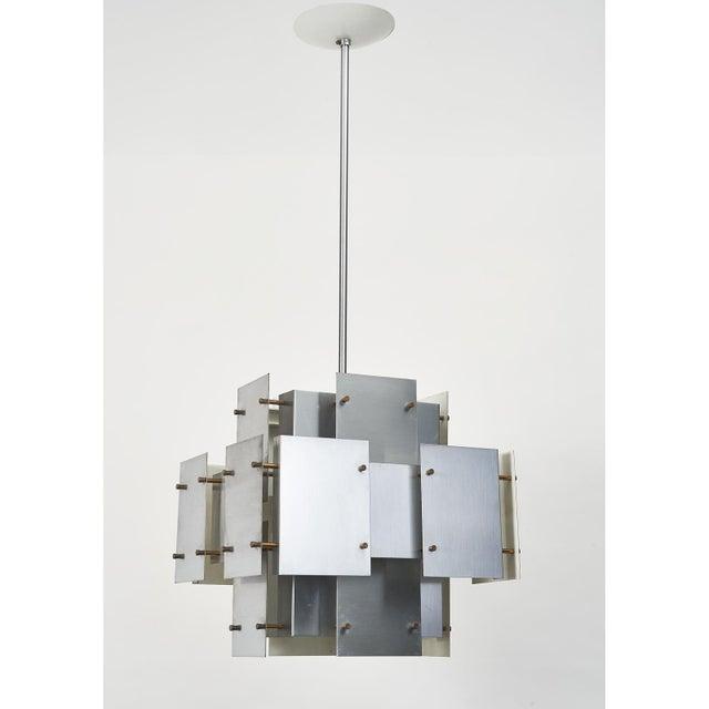 Robert Sonneman Satin Steel Floating Panel Chandelier by Robert Sonneman For Sale - Image 4 of 11
