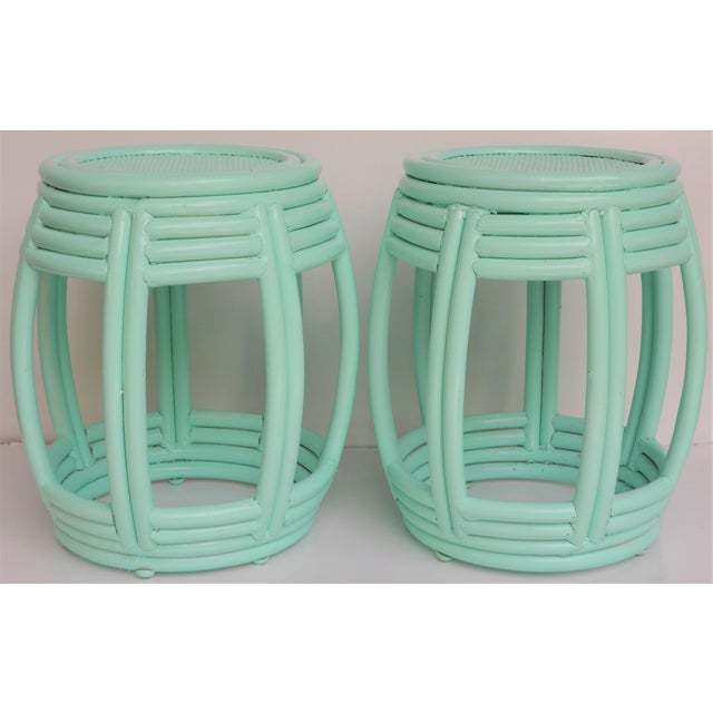 1990s Handwoven Rattan Painted Barrel Tables / Stools - a Pair For Sale - Image 5 of 7