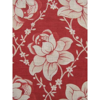Fabric Christmas Red Red Antique French Red Floral Fabric C1910 Printed Light For Sale