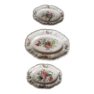 Set of Three French Luneville Platters For Sale