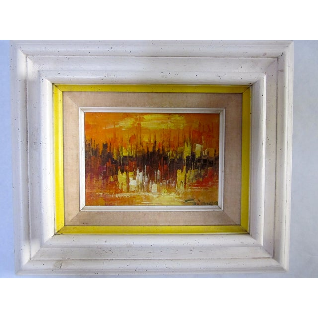 Mid Century Abstract Cityscape Painting - Image 5 of 10