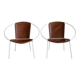 Mid-Century Iron Hoop Chairs With Leather Sling Seats - A Pair