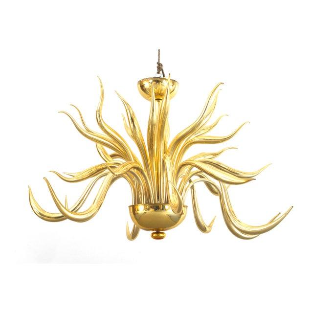 Post-War Design Italian Venetian Murano Modern Gilt Glass Chandelier For Sale - Image 4 of 4