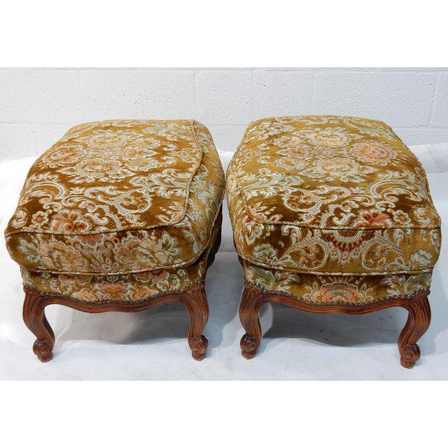French Contemporary Traditional French Ottomans With Rich Fabric Upholstery - a Pair For Sale - Image 3 of 11