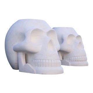 Custom Designer's Solid Carrara Marble Skull Sculpture