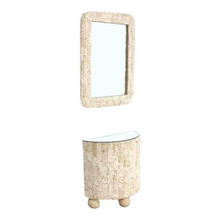 Mid-Century Modern Crushed Rock Tile Console Table With Mirror - 2 Pieces For Sale