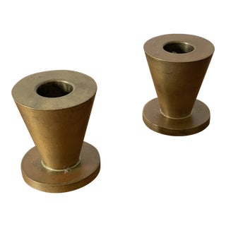 Mid Century Modern Brass Studio Candleholders - a Pair For Sale