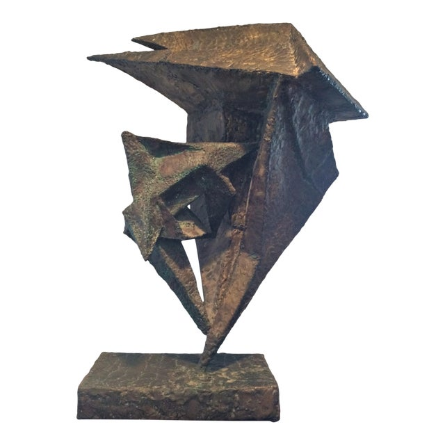 Geometric Copper and Steel Sculpture For Sale