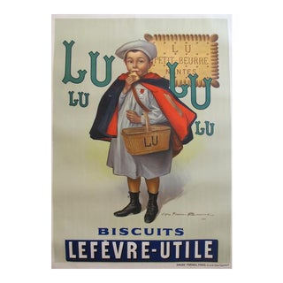 1930s Original Vintage Advertisement Poster - Biscuits Lu Lefèvre-Utile, Le Petit Écolier (Large Version) For Sale