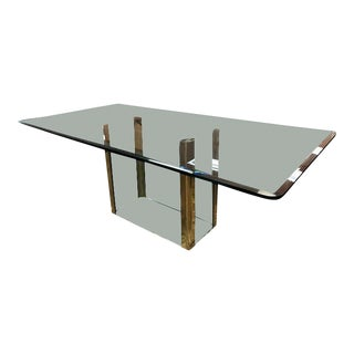 Mid-Century Modern Leon Rosen for Pace Collection Glass and Brass Rectangle Dining Table For Sale