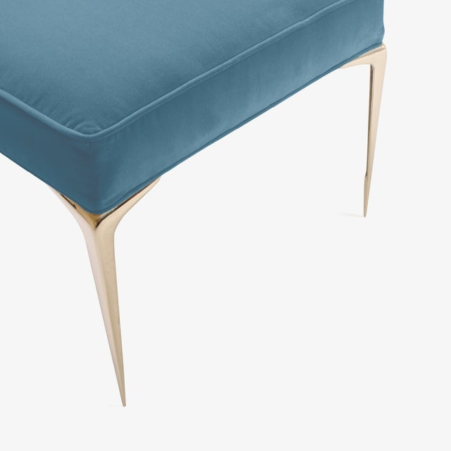 Colette Brass Ottomans in Denim Blue Velvet by Montage, Pair For Sale - Image 5 of 7