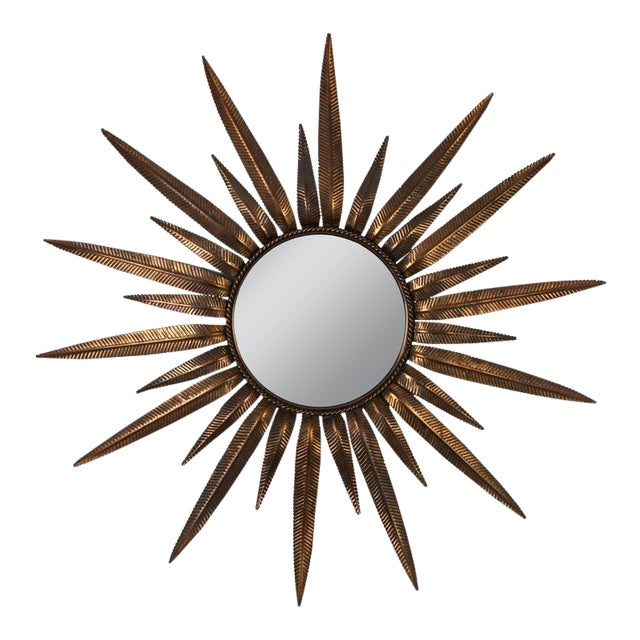 Gold Copper-Plated Sunburst Mirror For Sale - Image 8 of 8