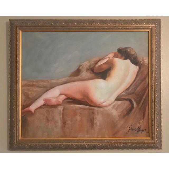 1980s Vintage Nude in Taupe and Blue For Sale - Image 5 of 5