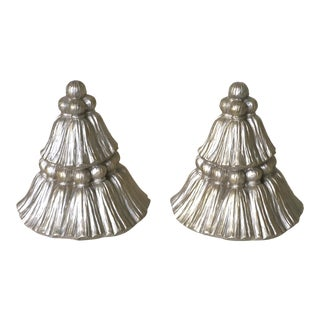 Silver Tassel Bookends - a Pair For Sale
