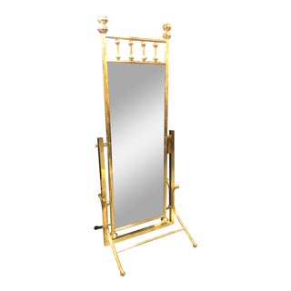 Vintage Hollywood Regency Cheval Brass Floor Mirror For Sale