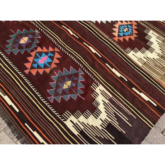 Vintagr Turkish Kilim Rug For Sale - Image 9 of 11