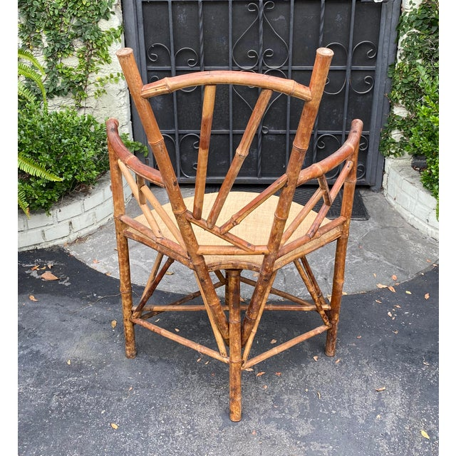 Rare Antique 19 C Bamboo Corner Chair For Sale - Image 4 of 5