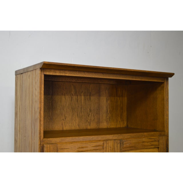 Brandt Ranch Oak Tall Narrow Bookcase Cabinet w/ Drawer & Doors For Sale - Image 5 of 12