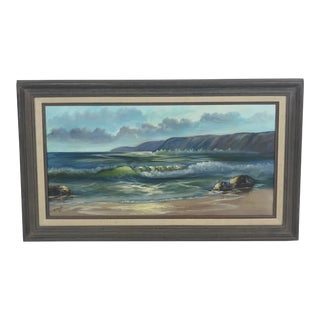 "1980s Vintage California Seascape Oil Painting on Canvas by ""Fritch"" For Sale"