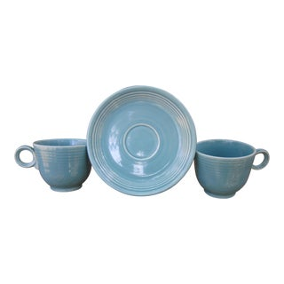 1950s Turquoise Fiestaware Dish Set - 3 Piece Set For Sale