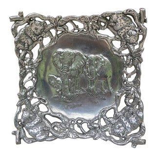 1986 Large Arthur Court Elephant Tray Signed and Dated For Sale