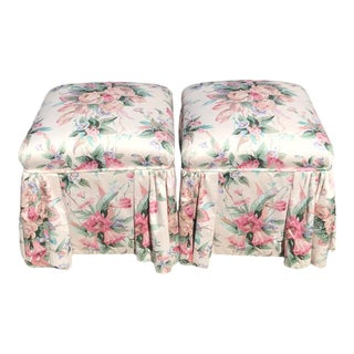 Century Furniture Floral Footstools - a Pair For Sale