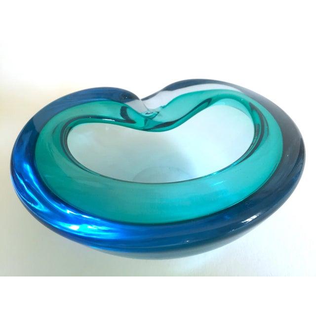 Blue Vintage Mid Century Modern Rare Flavio Poli Seguso Vetri D' Arte Murano Art Glass Sommerso Bowl Ashtray For Sale - Image 8 of 13