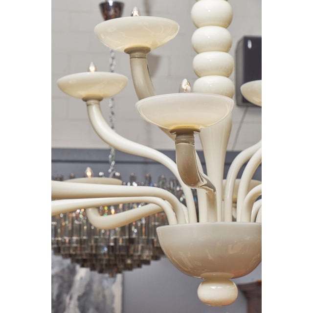 White Ivory Murano Glass Chandelier For Sale - Image 8 of 10