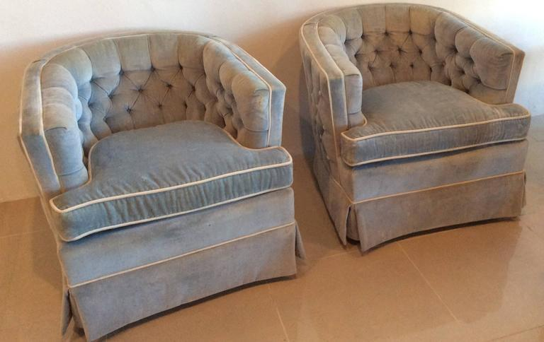 Vintage Hollywood Regency Button Tufted Barrel Tub Swivel Arm Chairs   A  Pair   Image 2