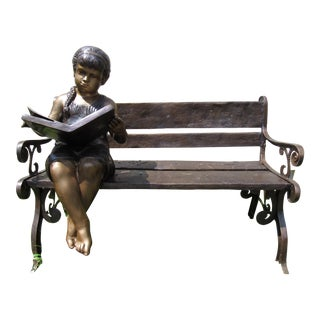 Bronze Bench With Schoolgirl Statue For Sale
