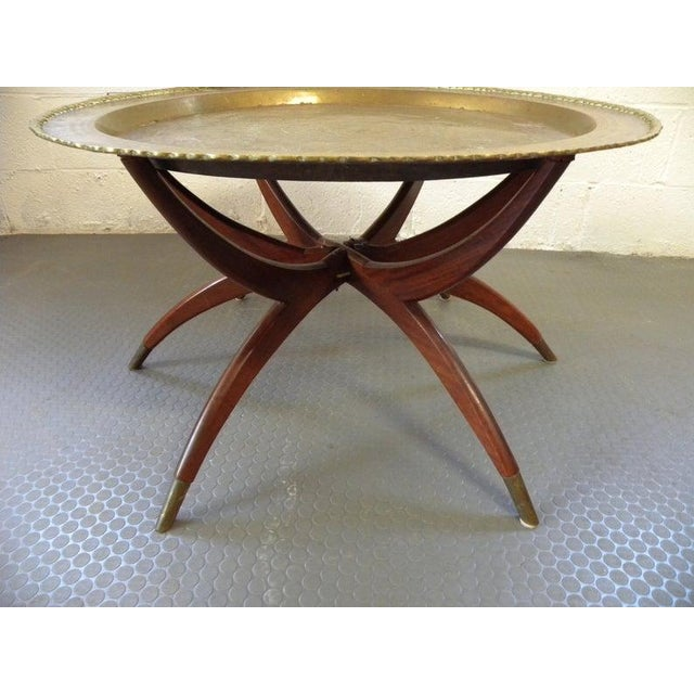 Islamic Vintage Turkish Spider Leg Brass Tea Table For Sale - Image 3 of 7