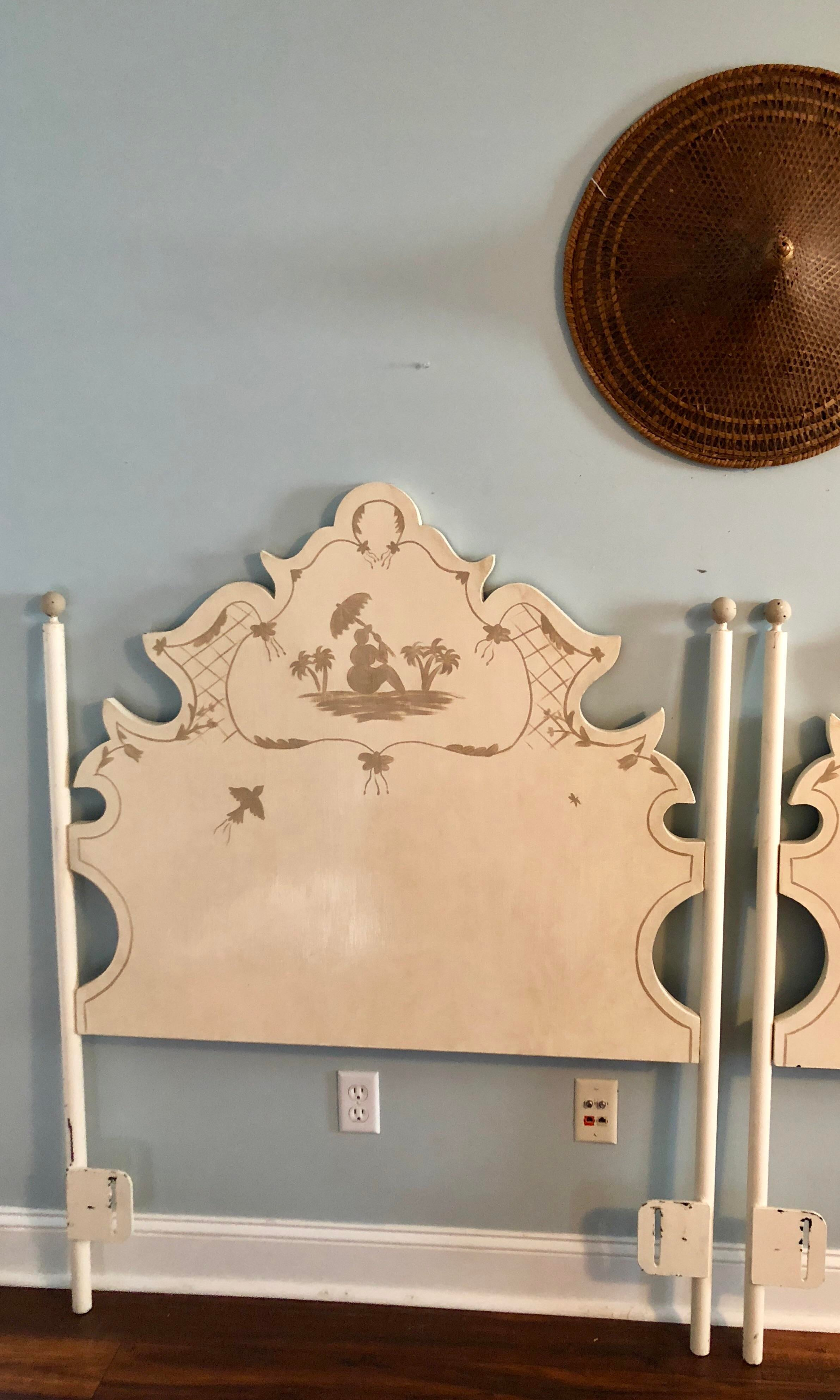 Jane Keltner For Brighton Pavilion Hand Painted Pagoda Tole Twin Headboards    A Pair   Awesome Ideas