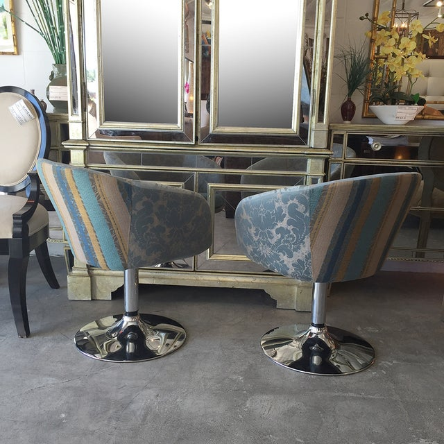 Vintage Custom Teal Swivel Chairs - A Pair - Image 8 of 11