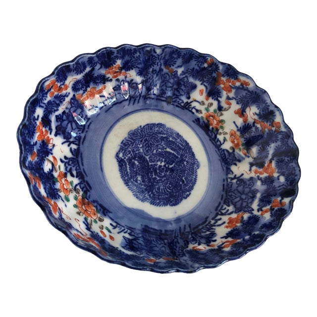 Antique Japanese Imari Oval Scalloped Bowl For Sale
