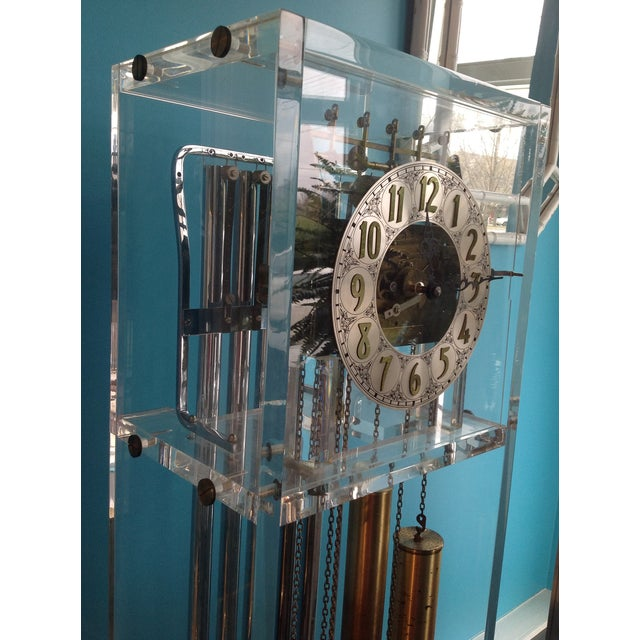 Traditional Vintage Lucite Grandfather Clock For Sale - Image 3 of 4