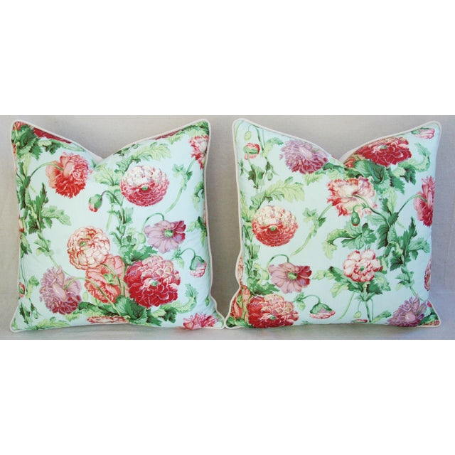 Designer Brunschwig & Fils Poppies Pillows - Pair - Image 4 of 9