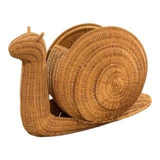 Vintage Wicker Snail Magazine Holder Basket For Sale