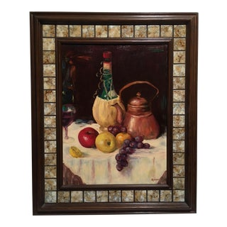 Tiled Wooden Frame Vintage Still Life Oil Painting