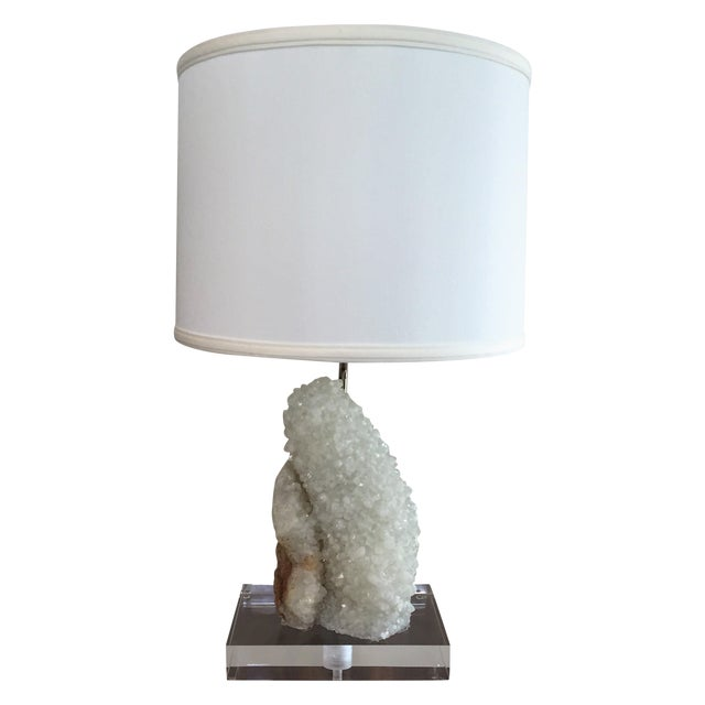 Quartz Table Lamp With Lucite Base - Image 1 of 5