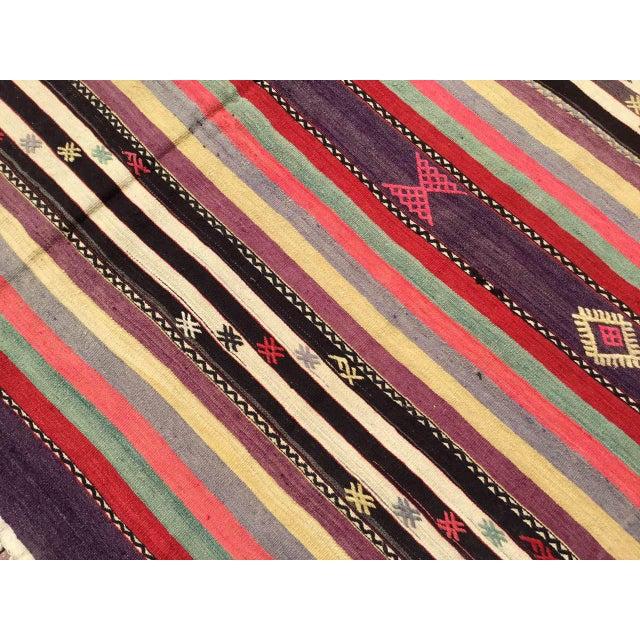 Cotton Vintage Striped Turkish Kilim Rug For Sale - Image 7 of 11