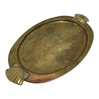Vintage Oval Brass Vanity Tray With Shell Handles