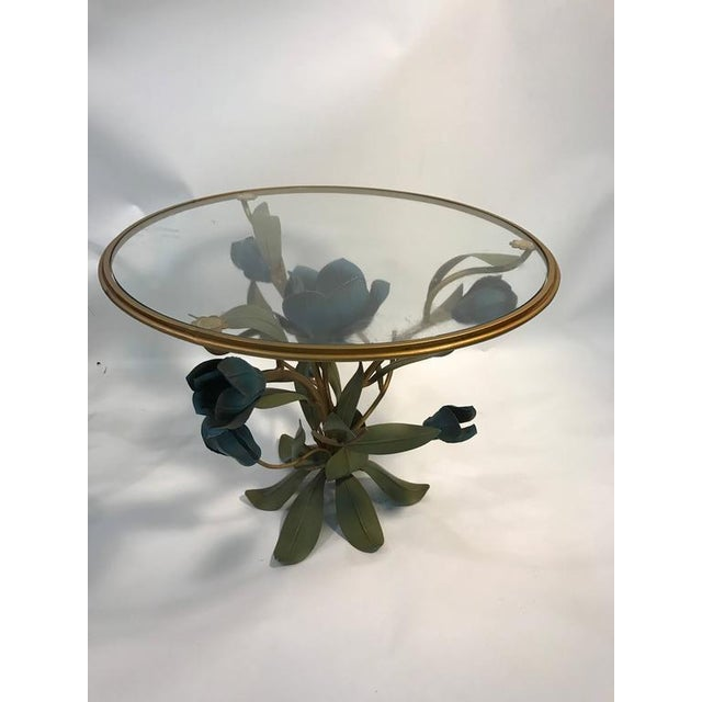 BEAUTIFUL PAIR OF MIXED- METAL SIDE OR ACCENT TABLES WITH FLOWER AND LEAF DESIGN For Sale In Philadelphia - Image 6 of 8