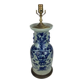 19th Century Celedon Blue & White Vase Lamp With Foo Dog Handles For Sale